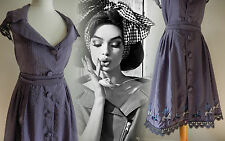 Vintage Inspired Dress 40's 50s Rockabilly Swing Tea Embroidered WW2 12 40 US 8