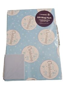 Gift. 2 On Your Christening Day Thick Wrapping Paper Male 50x70cm & 2 Gift Tags