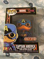 New Funko Pop Captain America Black Light 648 Marvel Target Exclusive Protector