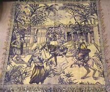 Vintage Tapestry Wall Hanging Middle Eastern Horse Rider Market Scene