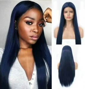 24inch Synthetic hair Glueless Lace front wigs Dark Blue Long Straight Daily use