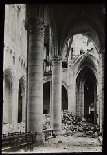 Glass Magic Lantern Slide DESTROYED CATHEDRAL OR CHURCH WW1 PHOTO WORLD WAR ONE