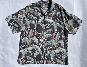Tommy Bahama men's medium gray Hawaiian print original fit silk button up shirt