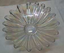 Flower Shaped Bowl Clear Glass with Iridescent Rainbow Color Elegant Vintage