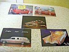 Lot of 5 Vintage Post Cards all with Old Cars &  Hearse