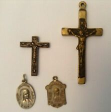Antique Lot Holy Saint Bernadette Medals PPN IHS Cross Christian French Lourdes