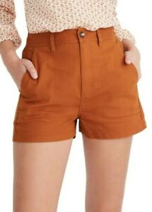 Madewell Camp Shorts, flat front, Size L, cognac brown