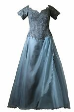 Vicky Tiel Couture Silk Ball Gown Anthracite Cinderella Beaded Embroidery