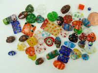 Lot 50 Perles verre millefiori mix formes tailles couleurs DIY création bijoux