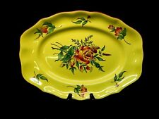 "Luneville (France) Hand-painted Old Strasbourg 14"" Oval Platter Dark Yellow"