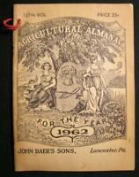 Agricultural Almanac For Year 1962 Lancaster PA Pennsylvania John Baers Sons (O)