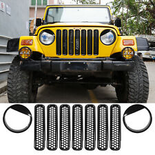 Grill Inserts Black Mesh Guard Headlight Trim for 1997-2006 Jeep TJ Wrangler 9PC