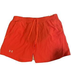 """NEW Under Armour Speedpocket 7"""" Running Shorts W/ lining Men Size XXL Orange"""