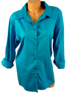 Silhouettes blue button down women's roll up sleeve plus top 1X
