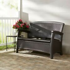 Enjoy a relaxing day at home kickback on your Suncast Outdoor Storage Bench