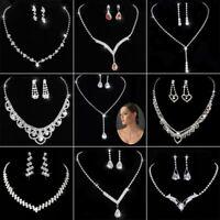 Women Fashion Crystal Rhinestone Pendant Necklace Earrings Wedding Jewelry Set