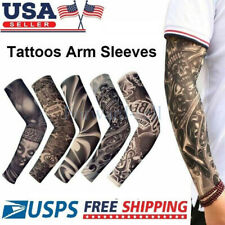 12pcs Skull Tattoo Arm Sleeves Cover Basketball Outdoor Sport UV Sun Protection
