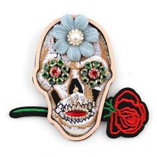 Skeleton Ladies Brooches Handmade Pins Colorful Glass Rhinestone Crystal Flower