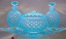 """FENTON GLASS""""MINT~40s""""BLUE""""OPALESCENT""""HOBNAIL""""PERFUME+POWDER/COLOGNE+TRAY""""VANITY"""