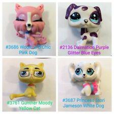 Littlest Pet Shop Lps 4pc Lot Maltese Dog Moody Cat Glitter Dalmation Pink Lash