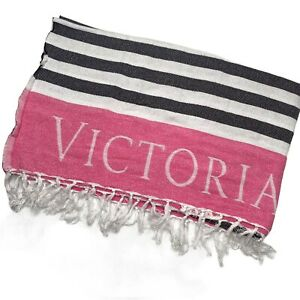 Victorias Secret Beach Blanket Pool Towel Pink Black White Striped 50 x 60 inch