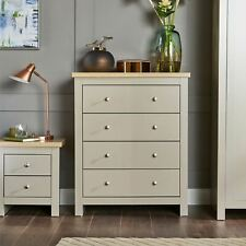 Chest of Drawers Grey Oak 4 Drawer Two Tone Wooden Bedroom B Seconds