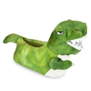 Childrens / Boys 3D Plush Novelty Green Dinosaur / T-Rex Slippers