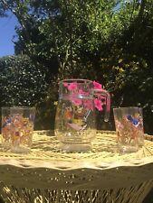 Beautiful  Original Vintage Bird Design Glass Jug & 4 Glasses