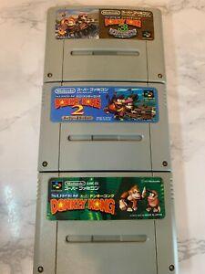 Nintendo Super Famicom Donkey  Kong + 2 + 3   Japan import lot of 3