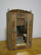 Early 20th century oak wood mirrored corner cabinet