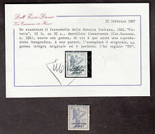 SOMALIA STAMP 1922 VITTORIA Doppia Varieta' PICCOLA CROCE CON CERTIFICATO DIENA