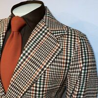 NOS Vtg 60s 70s Vanderbilt Sport Coat Suit Jacket Blazer Brown Plaid Mens 38 New