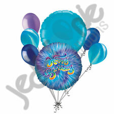 7 pc Blue Tie-Dye Happy Birthday Balloon Bouquet Party Decoration Agate