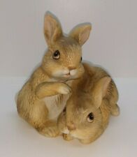 "Easter Bunny Rabbits Figurine 3.5"" Vintage Home Interior Homco #1455 Brown"
