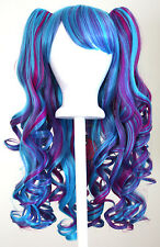 20'' Lolita Wig + 2 Pig Tails Set Electric Blue and Magenta Cosplay Gothic Sweet