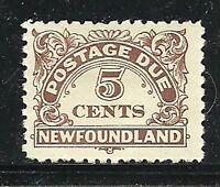 Album Treasures Newfoundland Scott # J5  5c Postage Due Mint Hinged