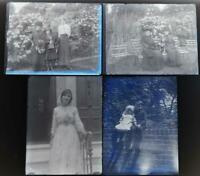 People and Children Set of 4 Antique 1910s Glass Photograph Negatives