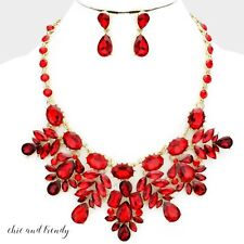 HIGH END RED GLASS CRYSTAL CHUNKY WEDDING FORMAL NECKLACE JEWELRY SET TRENDY
