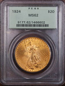 1924 $20 Gaudens Gold Double Eagle, PCGS MS-62 OGH 2