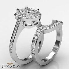 Ring Gia F Vs2 Platinum 1.86 ct Halo Pave Cushion Bridal Set Diamond Engagement