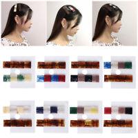 2pcs Pinces à cheveux en résine vintage frappé couleur géométriques carrés