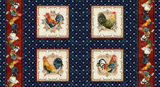 ROOSTERS~IN THE BEGINNING FABRIC PANEL~CHICKEN FARM ROOSTER BLUE~1AJB2