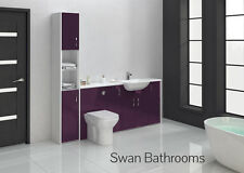 AUBERGINE GLOSS BATHROOM FITTED FURNITURE 2000MM WITH TALL UNIT