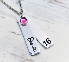 Sweet 16, Birthstone Necklace, Milestone, Birthday necklace, 16 years jewellery