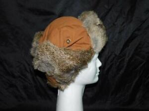 Mad Bomber XL Brown Canvas Rabbit Fur Hat Winter Insulated Trapper Aviator Ski