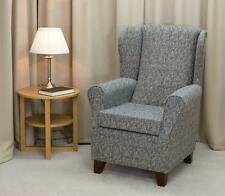 Wingback Fireside Chair in a Como Charcoal Fabric on Hardwood Legs