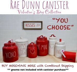 """Rae Dunn Canister Valentine's Day Collection """"YOU CHOOSE"""" Heart XOXO NEW '19-'21"""