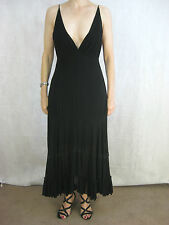 Sally Smith Size 10 Black Silk Maxi Dress