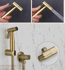 Brushed Gold SUS Toilet Solid Bidet Handheld Shower Spray&Hose&Holder Valve Kit