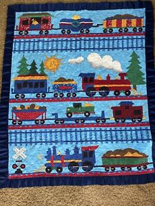 Baby Quilt or Throw Blanket For Crib or Kids Bed- Trains Trains & Trains